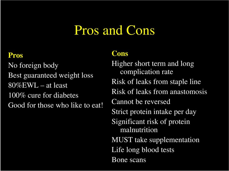 Cons Higher short term and long complication rate Risk of leaks from staple line Risk of leaks