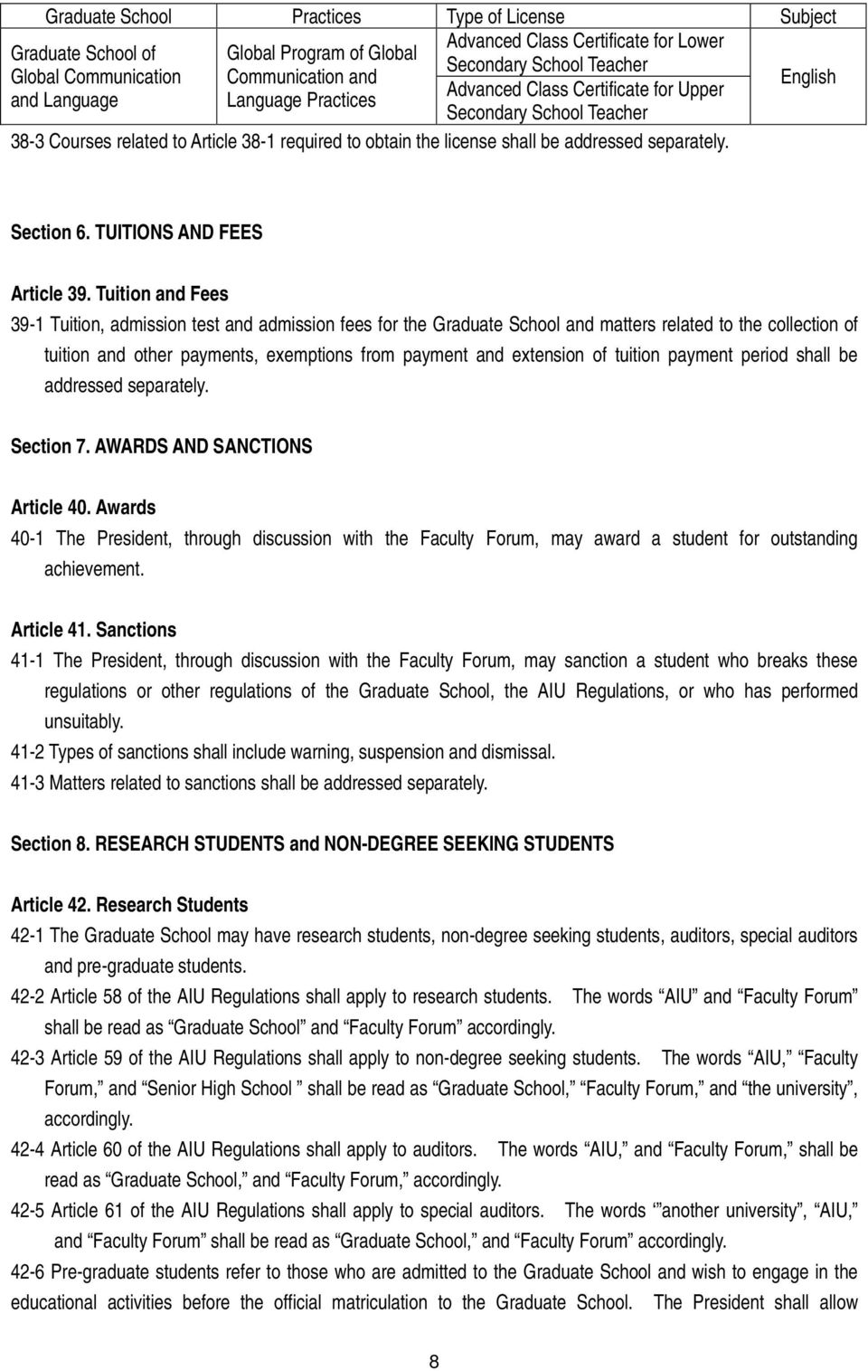 Section 6. TUITIONS AND FEES Article 39.