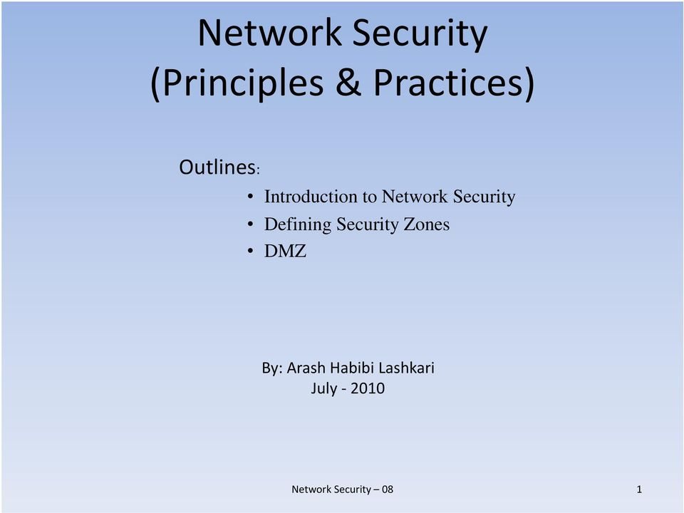 Network Security Dfii Defining Security