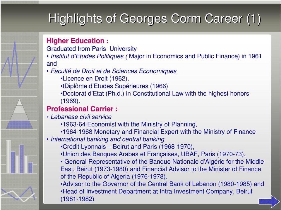 Professional Carrier : Lebanese civil service 1963-64 Economist with the Ministry of Planning, 1964-1968 Monetary and Financial Expert with the Ministry of Finance International banking and central