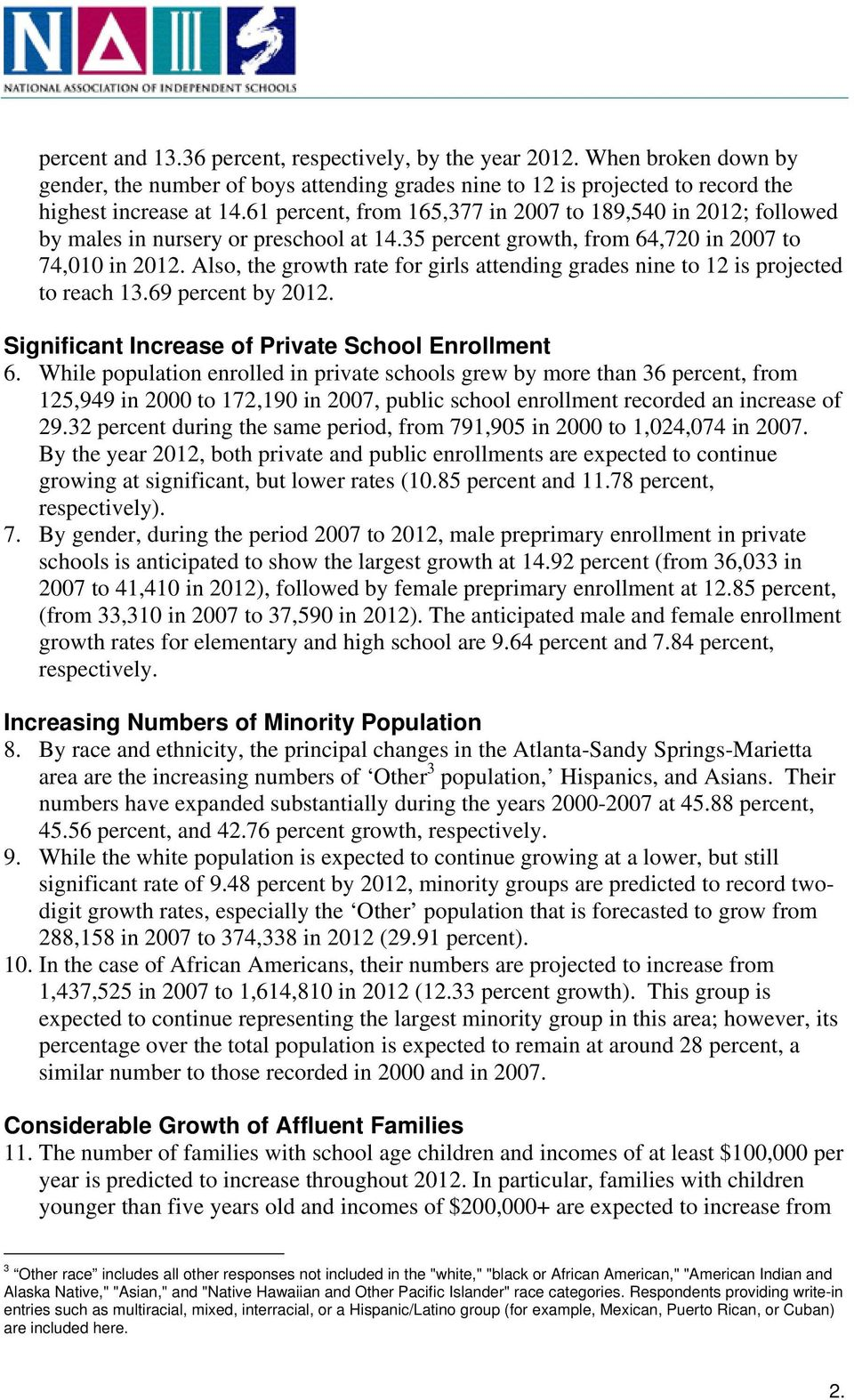 Also, the growth rate for girls attending grades nine to 12 is projected to reach 13.69 percent by 2012. Significant Increase of Private School Enrollment 6.