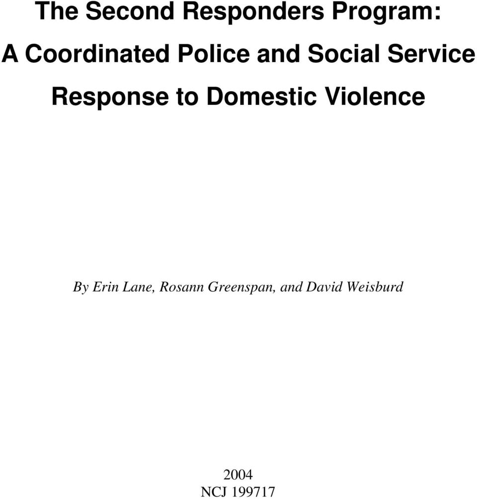 Response to Domestic Violence By Erin