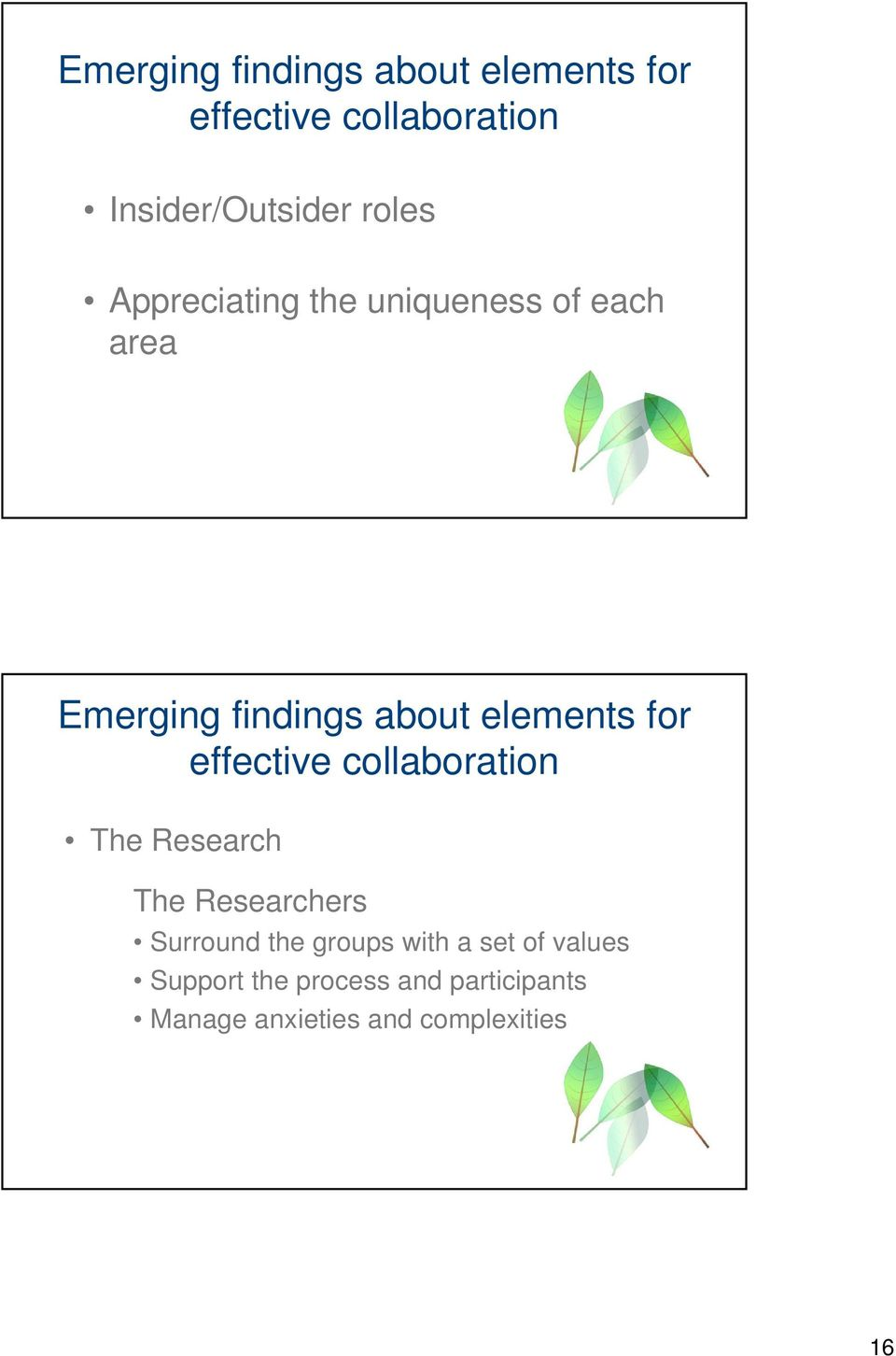 for effective collaboration The Research The Researchers Surround the groups with