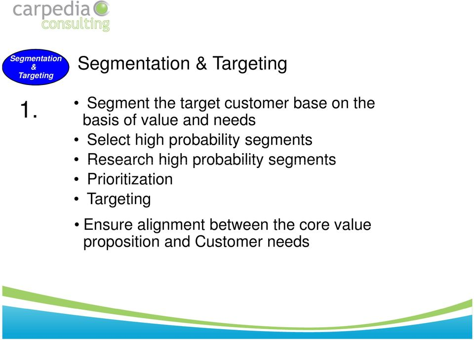 of value and needs Select high probability segments Research high