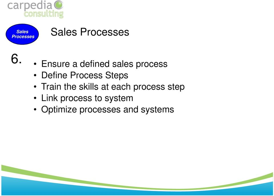 Process Steps Train the skills at each