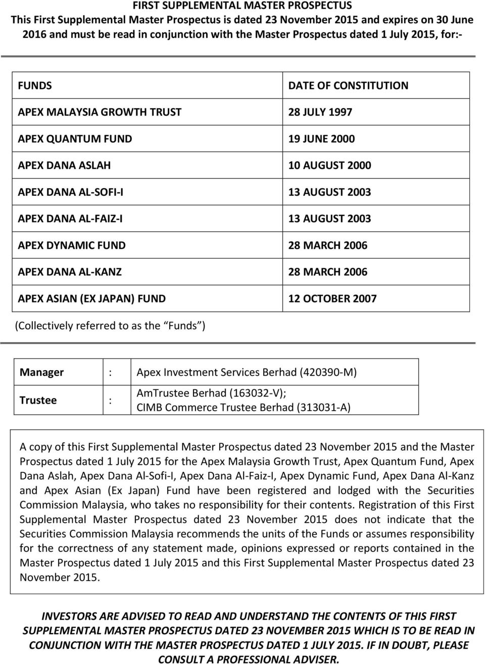 AUGUST 2003 APEX DYNAMIC FUND 28 MARCH 2006 APEX DANA AL-KANZ 28 MARCH 2006 APEX ASIAN (EX JAPAN) FUND 12 OCTOBER 2007 (Collectively referred to as the Funds ) Manager : Apex Investment Services