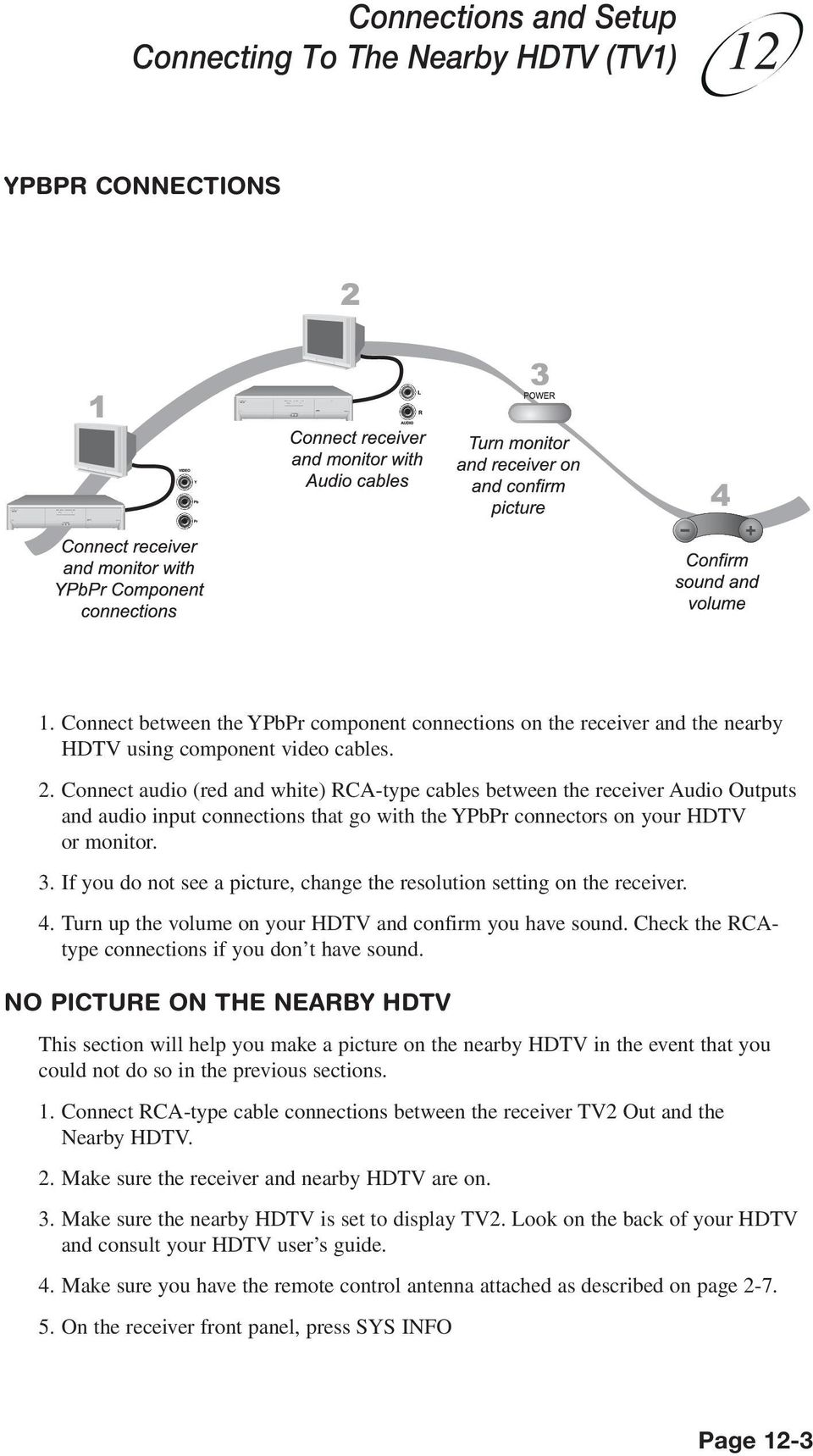 If you do not see a picture, change the resolution setting on the receiver. 4. Turn up the volume on your HDTV and confirm you have sound. Check the RCAtype connections if you don t have sound.