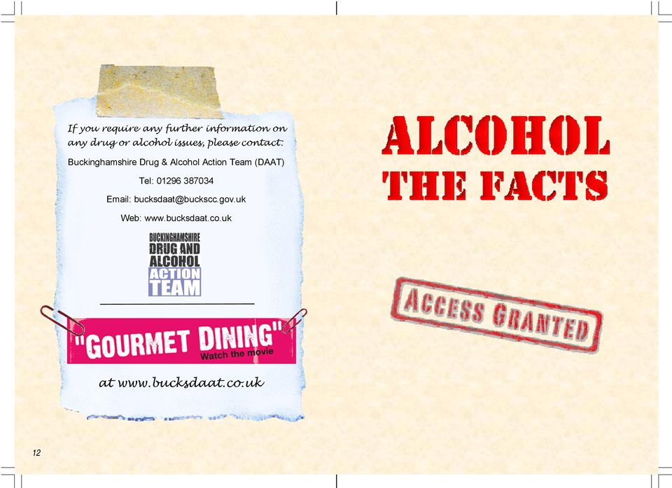 Alcohol Action Team (DAAT) Tel: 01296 387034 Email: