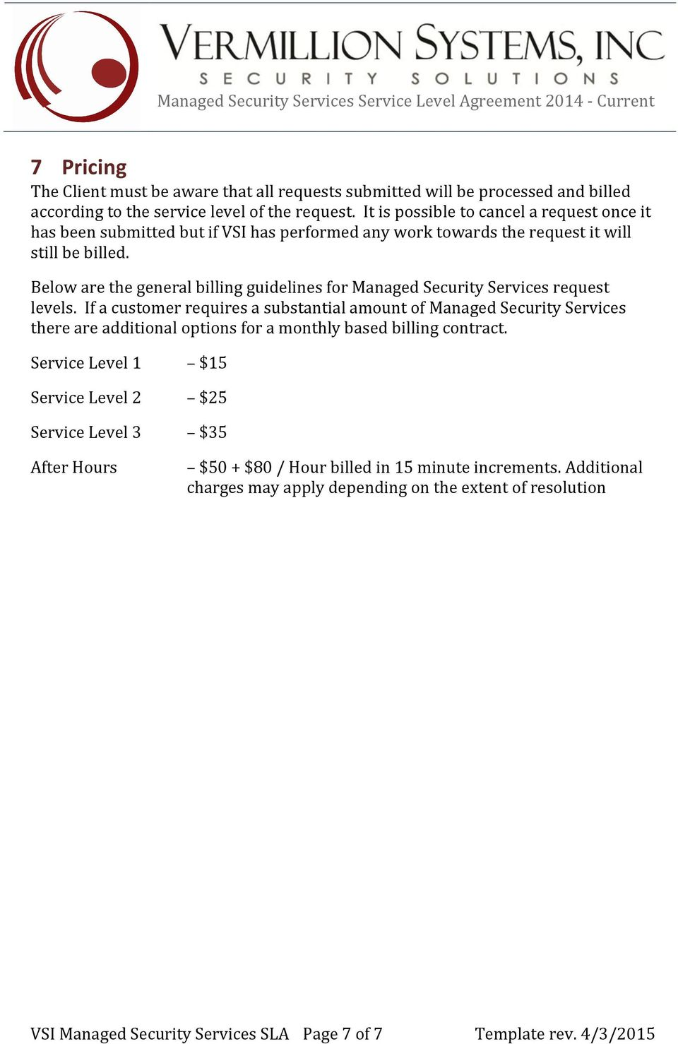Managed Security Services Service Level Agreement Current Managed