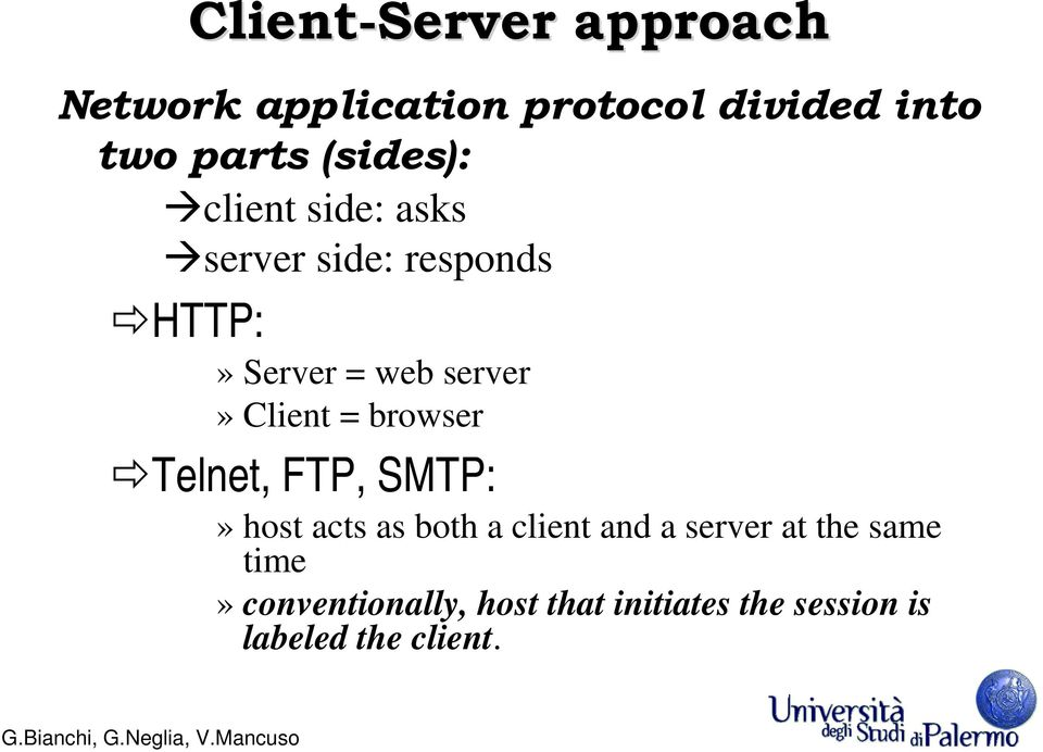 Client = browser Telnet, FTP, SMTP:» host acts as both a client and a server at