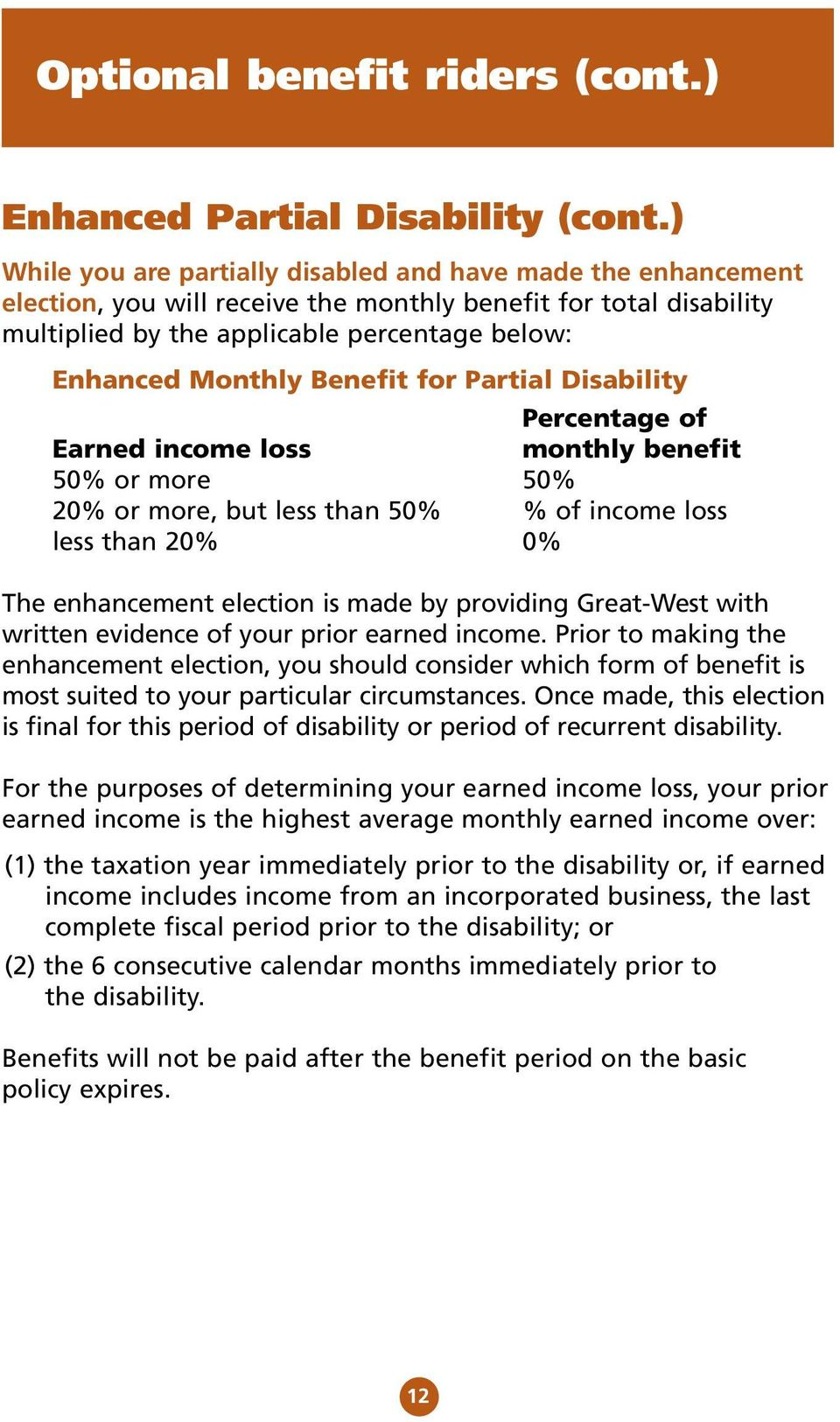 Benefit for Partial Disability Percentage of Earned income loss monthly benefit 50% or more 50% 20% or more, but less than 50% % of income loss less than 20% 0% The enhancement election is made by