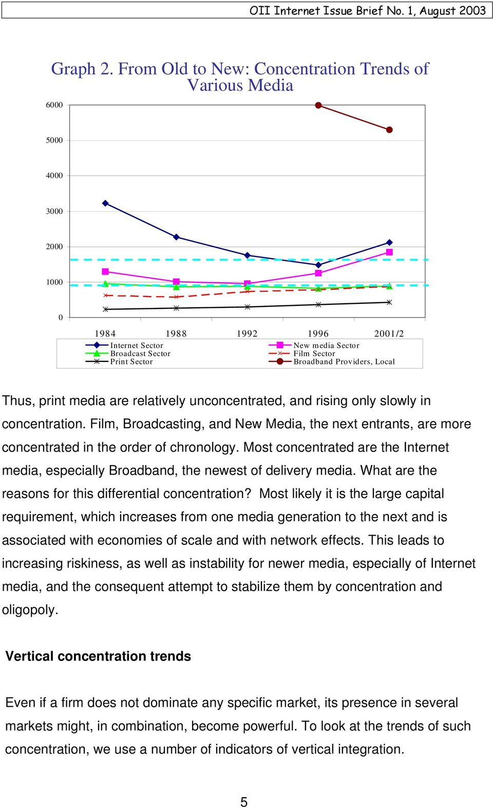 Providers, Local Thus, print media are relatively unconcentrated, and rising only slowly in concentration.