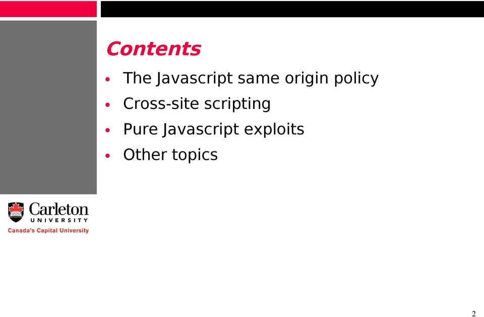 Javascript Security, XSS, and Uncovered Topics  Pat Morin