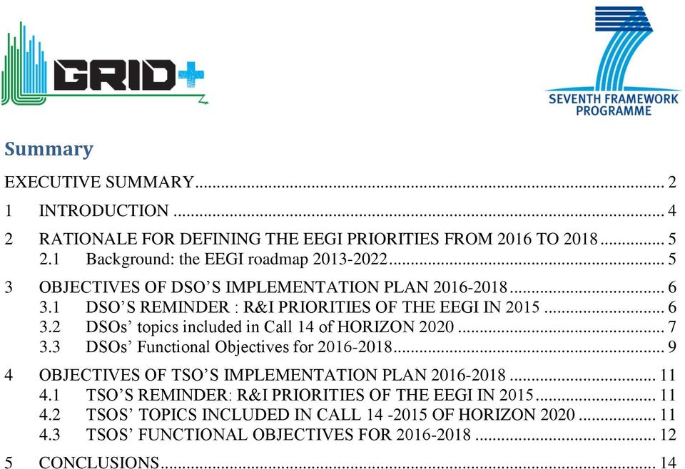 .. 6 3.2 DSOs topics included in Call 14 of HORIZON 2020... 7 3.3 DSOs Functional Objectives for 2016-2018.