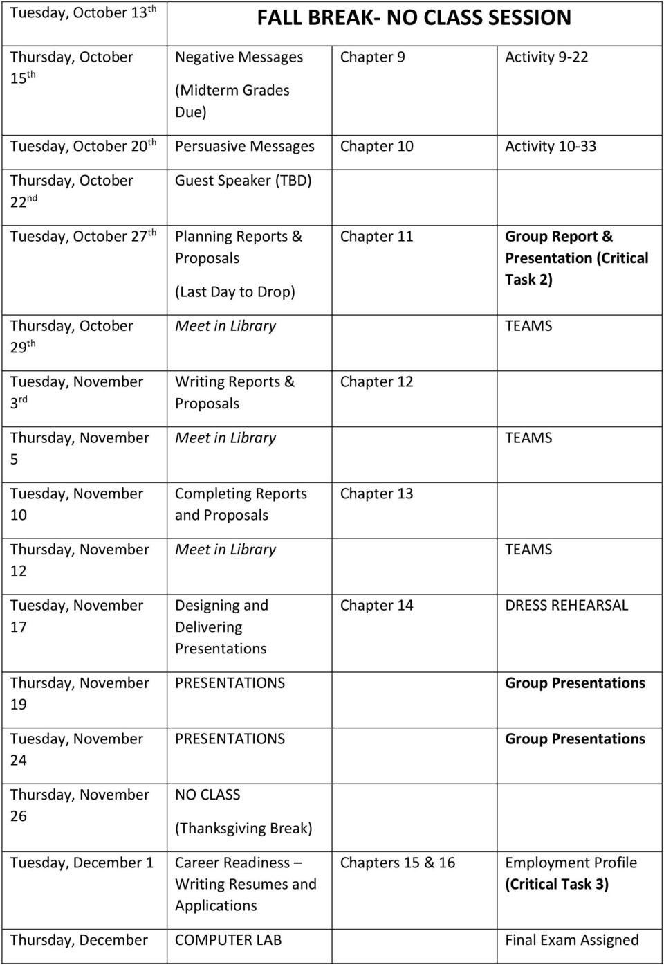 October 29 th Meet in Library TEAMS Tuesday, November 3 rd Writing Reports & Proposals Chapter 12 Thursday, November 5 Meet in Library TEAMS Tuesday, November 10 Completing Reports and Proposals