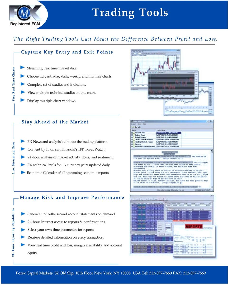 Complete set of studies and indicators. View multiple technical studies on one chart. Display multiple chart windows. Stay Ahead of the Market FX News and analysis built into the trading platform.