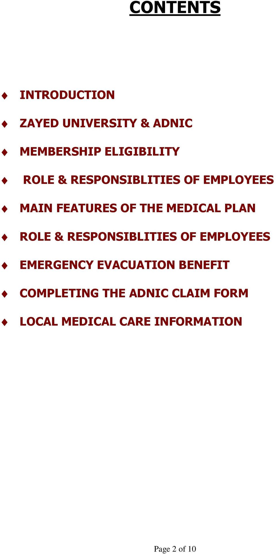 ROLE & RESPONSIBLITIES OF EMPLOYEES EMERGENCY EVACUATION BENEFIT