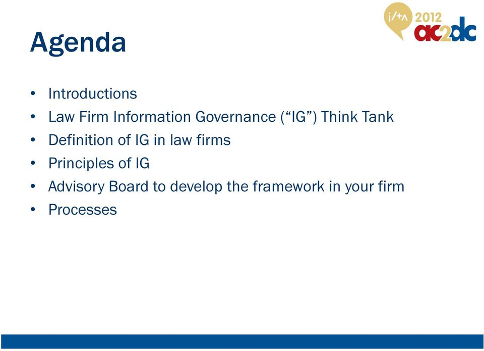 IG in law firms Principles of IG Advisory