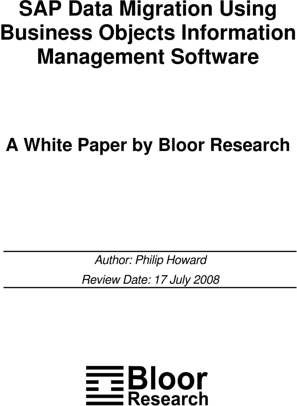 A White Paper by Blr Research Authr: