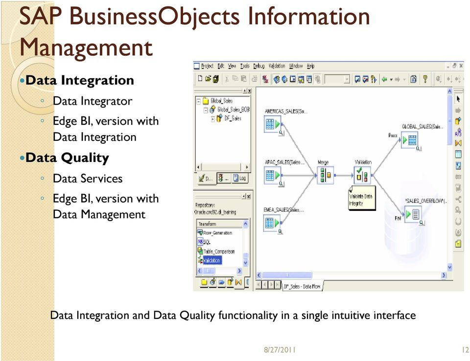 Services Edge BI, version with Data Management Data Integration and