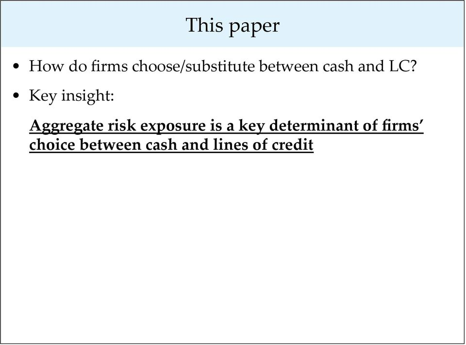 Key insight: Aggregate risk exposure is a