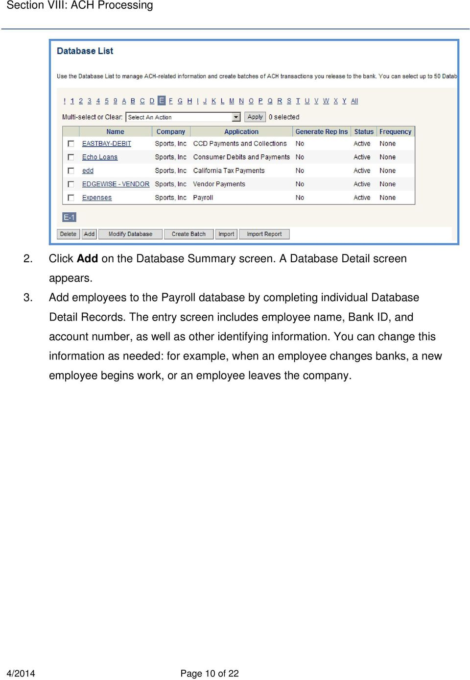 The entry screen includes employee name, Bank ID, and account number, as well as other identifying information.