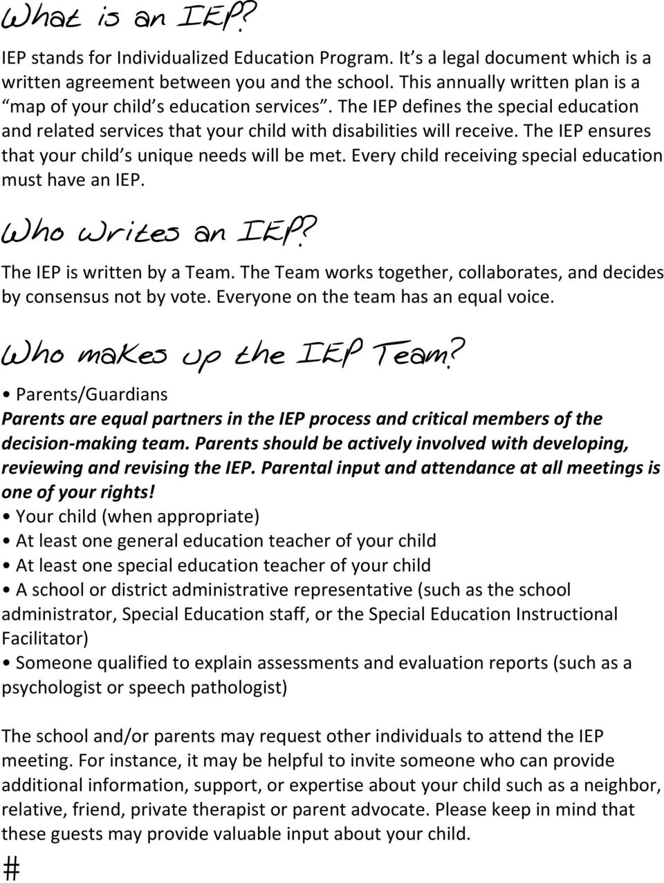 Parents As Equal Participants In Team >> The Iep Is Written By A Team The Team Works Together