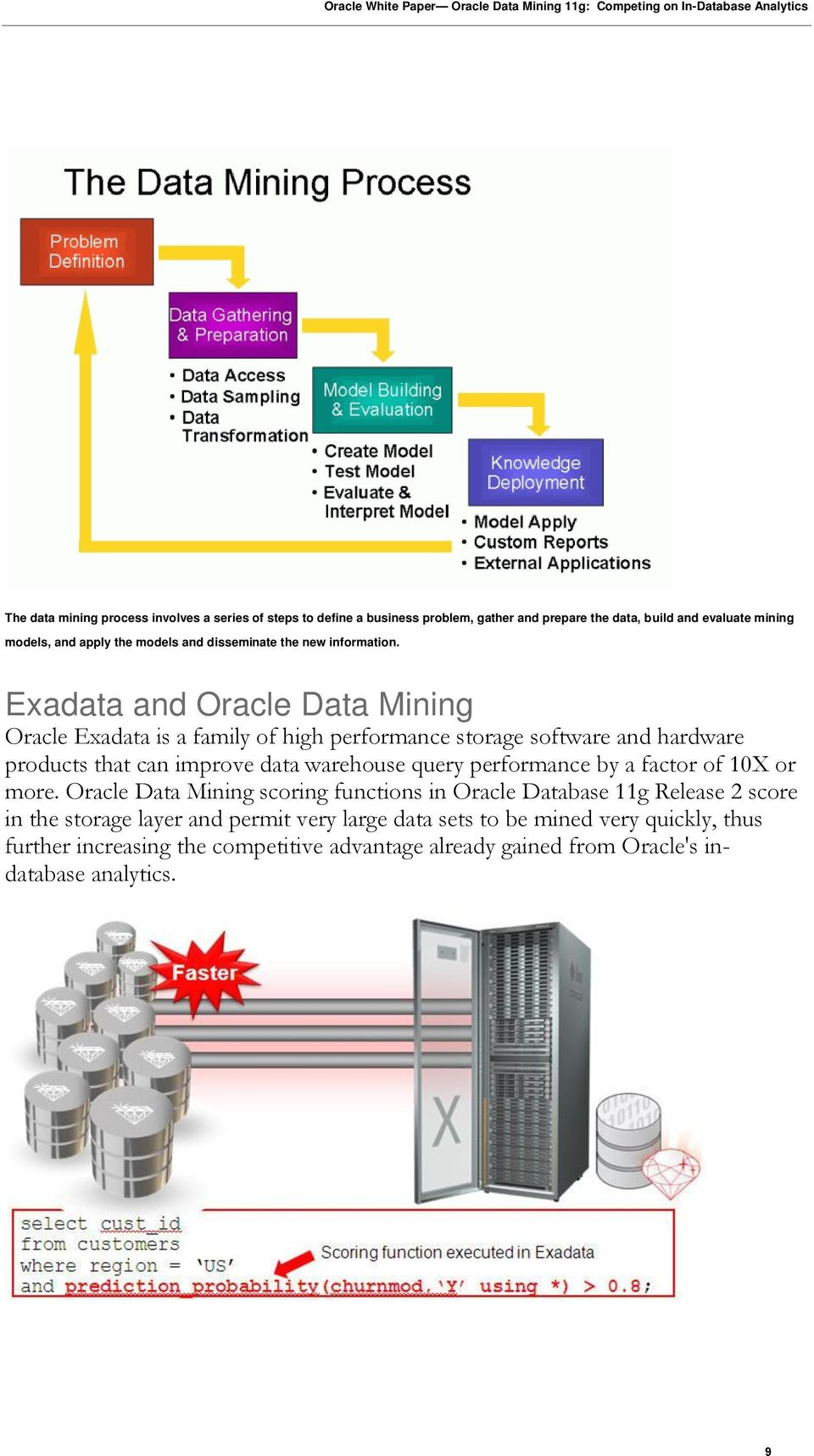 Exadata and Oracle Data Mining Oracle Exadata is a family of high performance storage software and hardware products that can improve data warehouse query