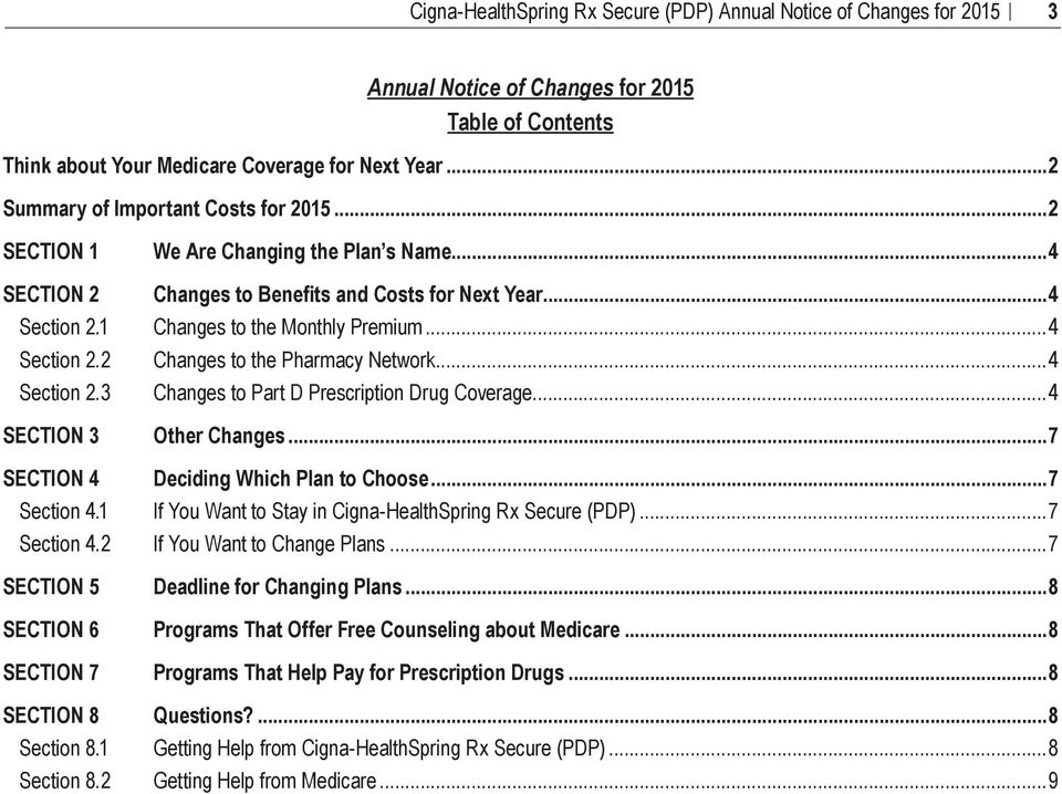 1 Section 8.2 We Are Changing the Plan s Name...4 Changes to Benefits and Costs for Next Year...4 Changes to the Monthly Premium...4 Changes to the Pharmacy Network.