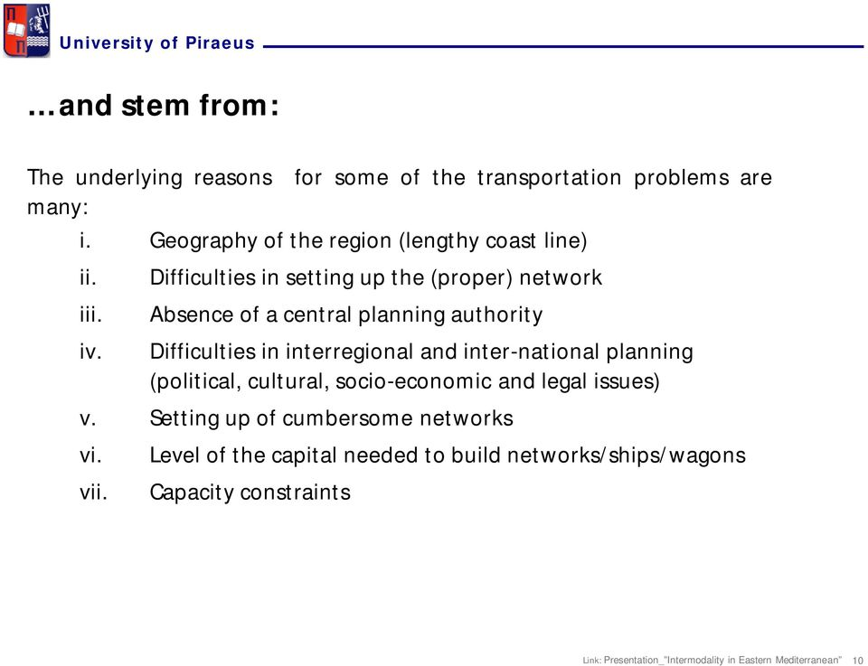 Difficulties in setting up the (proper) network Absence of a central planning authority Difficulties in interregional