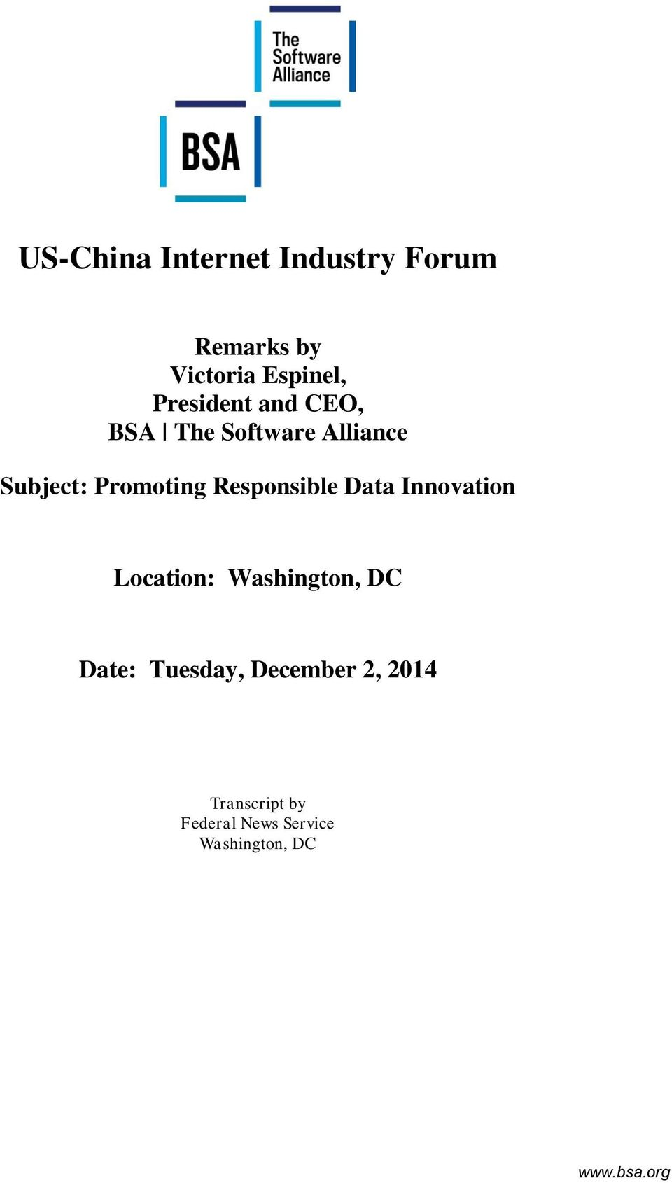 Responsible Data Innovation Location: Washington, DC Date: