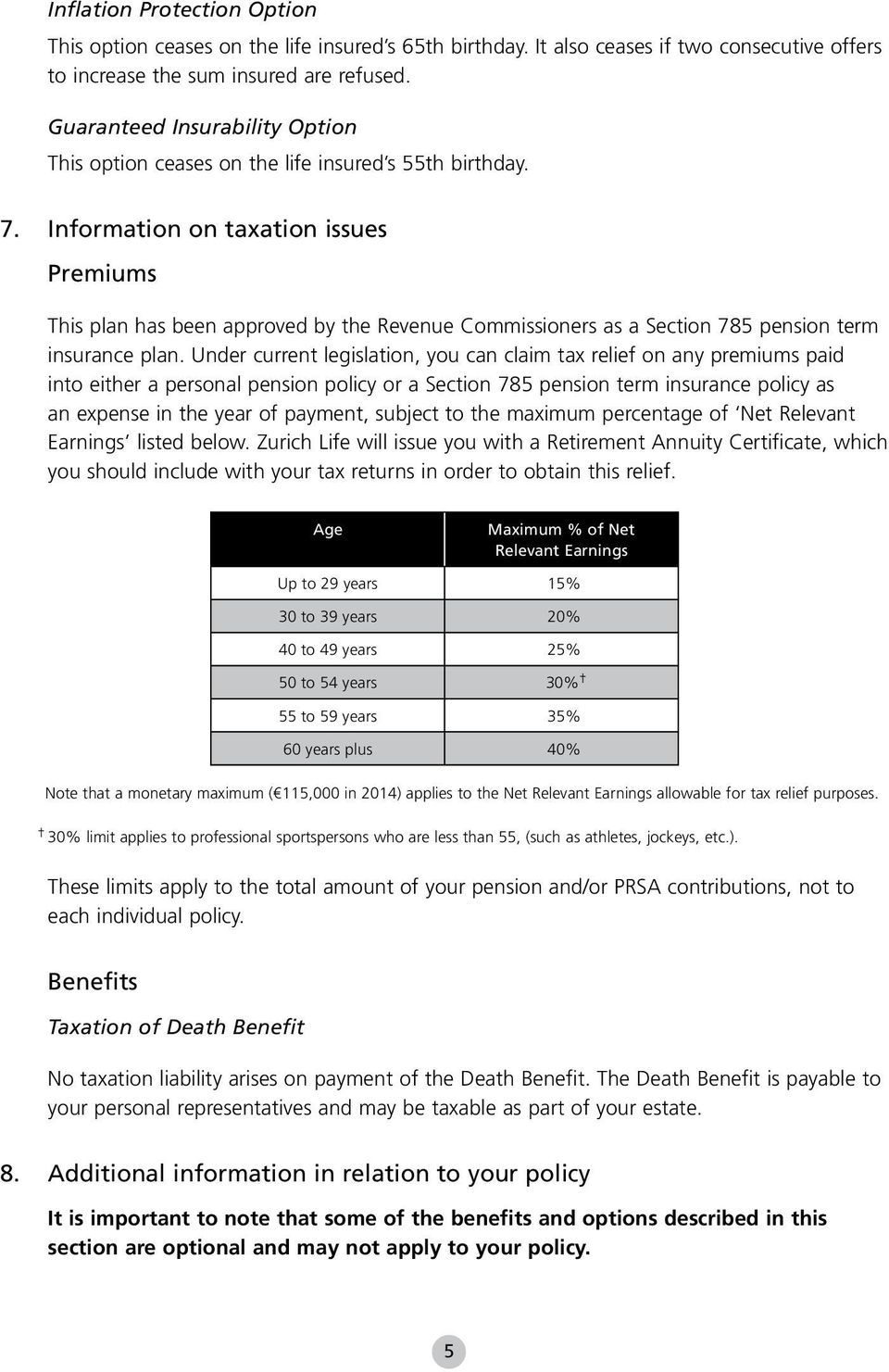 Information on taxation issues Premiums This plan has been approved by the Revenue Commissioners as a Section 785 pension term insurance plan.