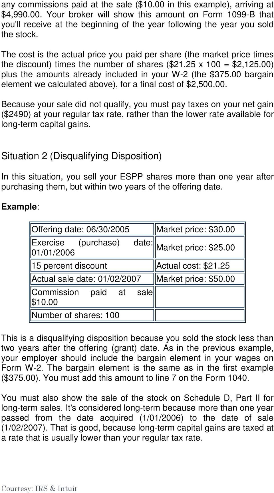 00 bargain element we calculated above), for a final cost of $2,500.00. Because your sale did not qualify, you must pay taxes on your net gain ($2490) at your regular tax rate, rather than the lower rate available for long-term capital gains.