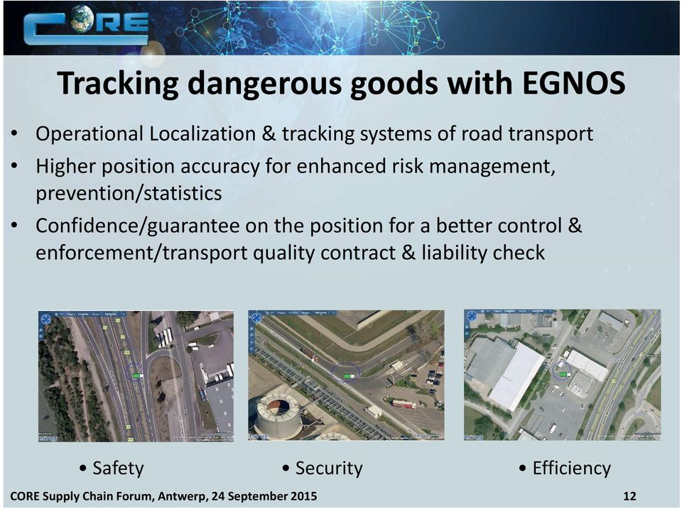 Confidence/guarantee on the position for a better control & enforcement/transport quality