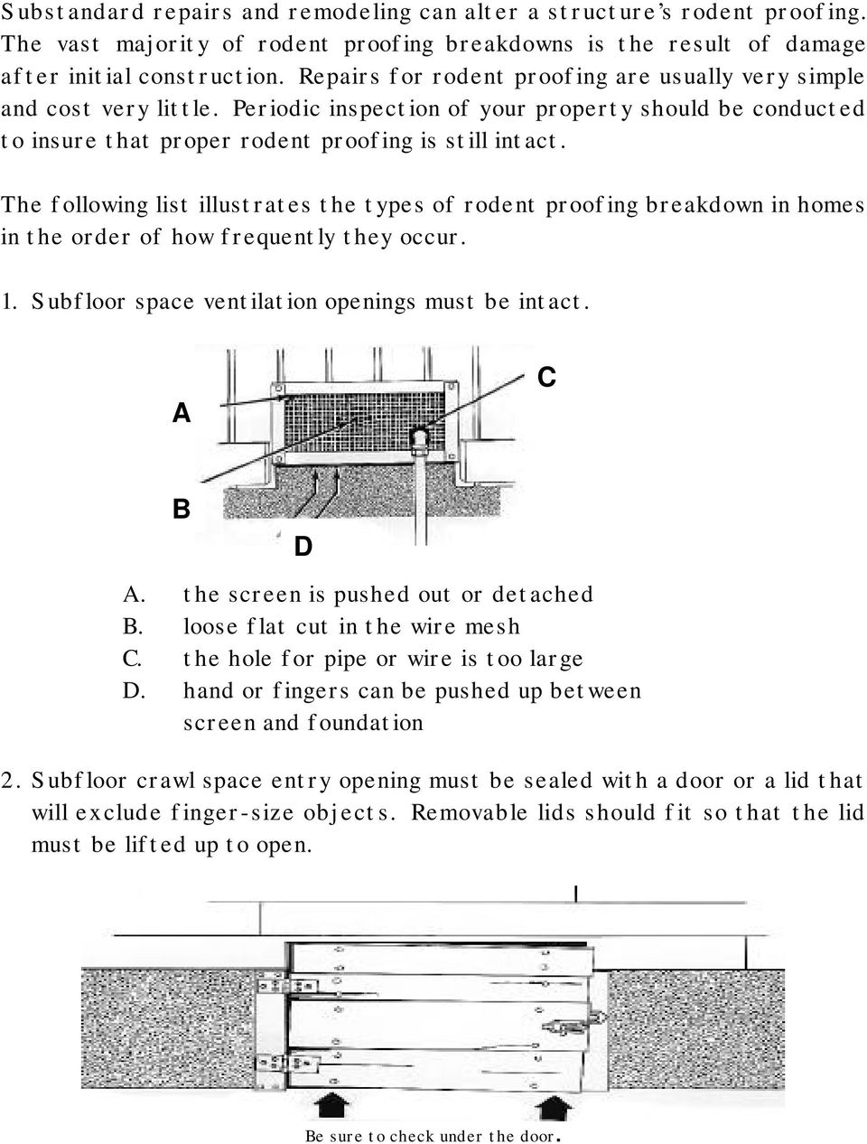 The following list illustrates the types of rodent proofing breakdown in homes in the order of how frequently they occur. 1. Subfloor space ventilation openings must be intact. A C B D A.