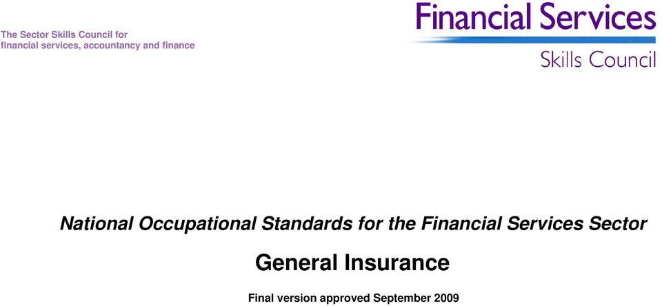Occupational Standards for the Financial