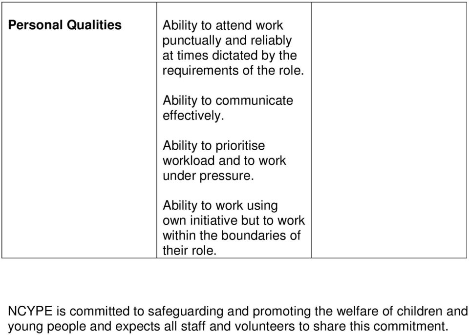 Ability to work using own initiative but to work within the boundaries of their role.