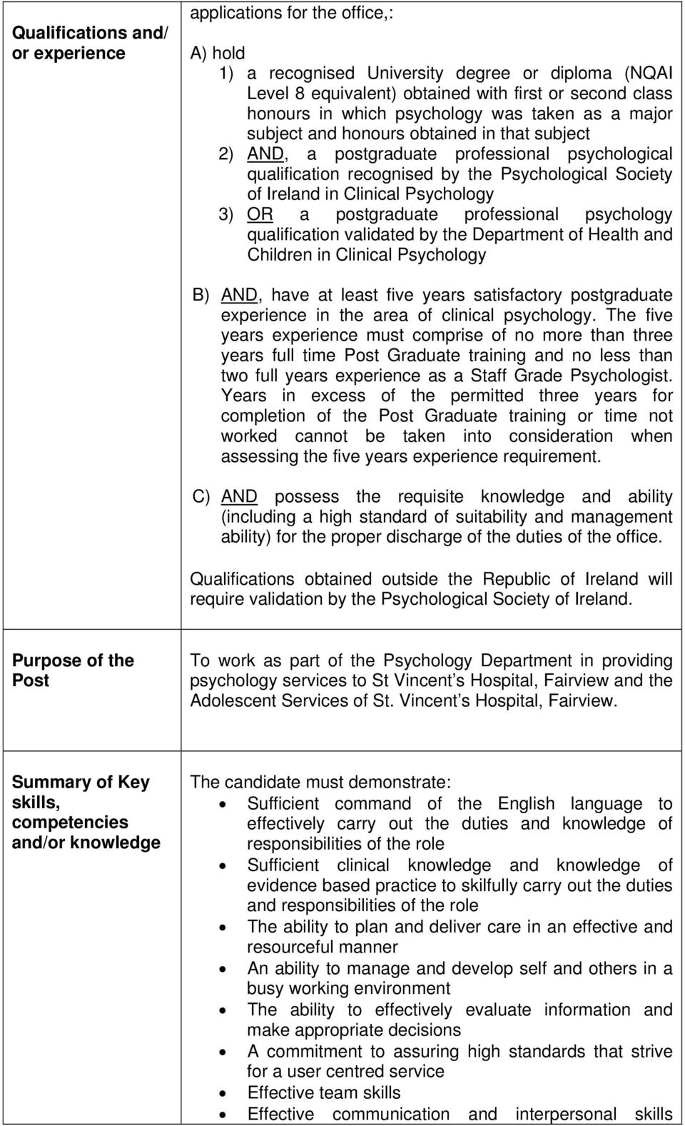 Clinical Psychology 3) OR a postgraduate professional psychology qualification validated by the Department of Health and Children in Clinical Psychology B) AND, have at least five years satisfactory
