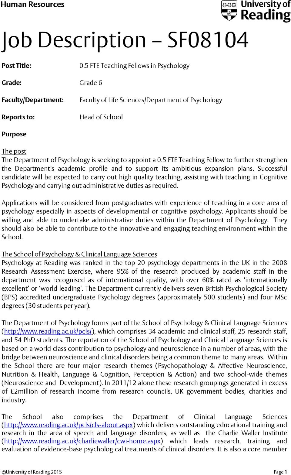 seeking to appoint a 0.5 FTE Teaching Fellow to further strengthen the Department s academic profile and to support its ambitious expansion plans.