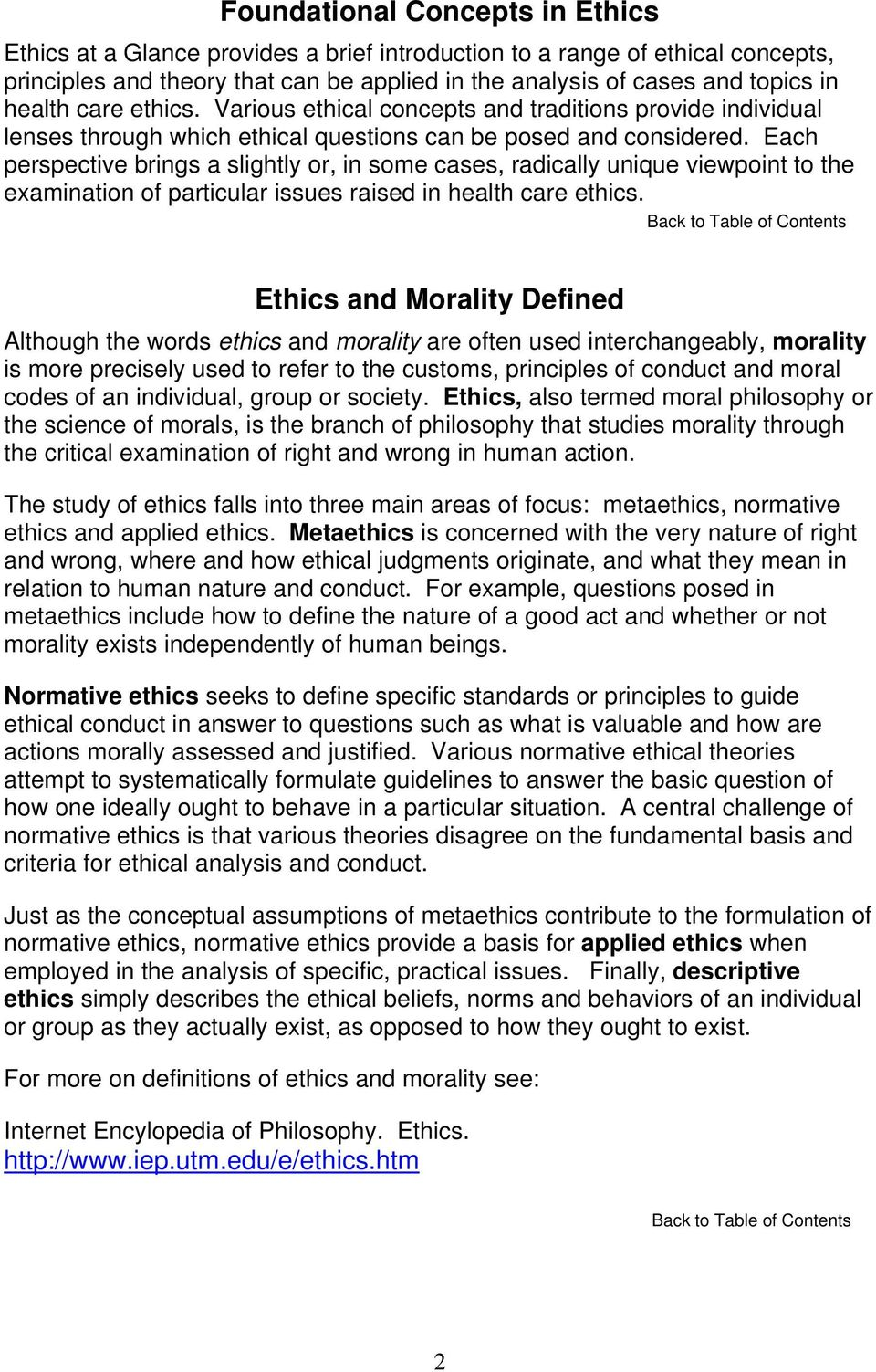 Each perspective brings a slightly or, in some cases, radically unique viewpoint to the examination of particular issues raised in health care ethics.