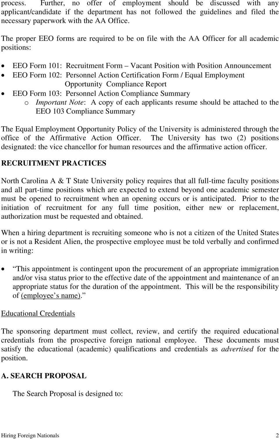 Action Certification Form / Equal Employment Opportunity Compliance Report EEO Form 103: Personnel Action Compliance Summary o Important Note: A copy of each applicants resume should be attached to