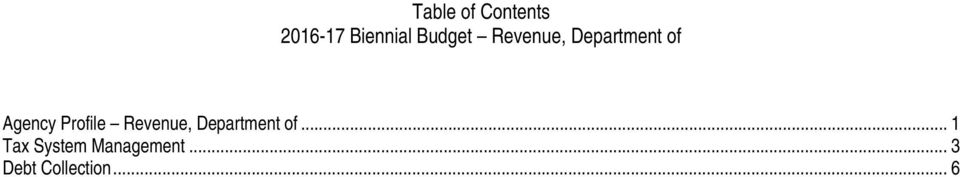 Profile Revenue, Department of.