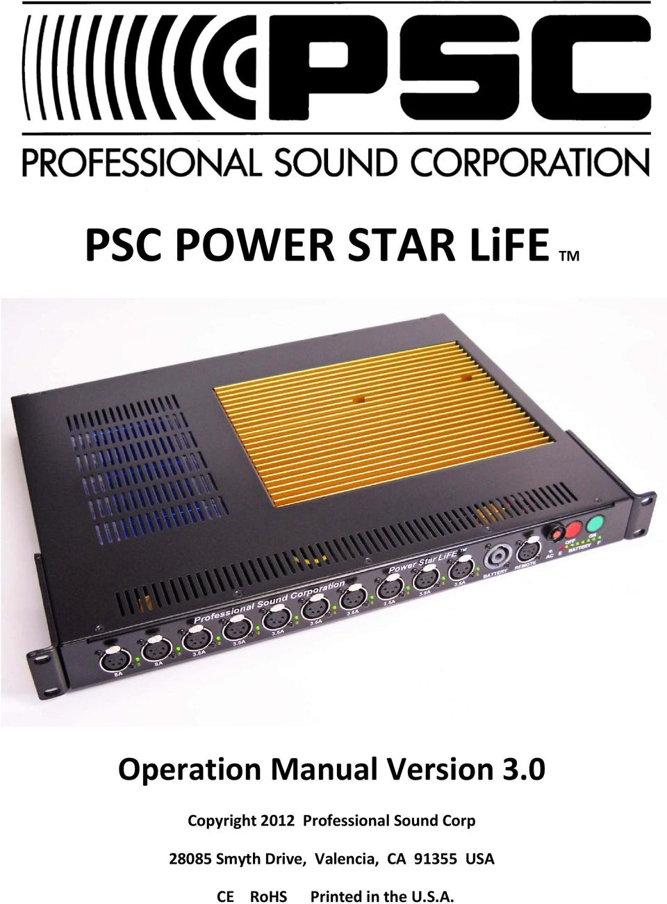 0 Copyright 2012 Professional Sound Corp