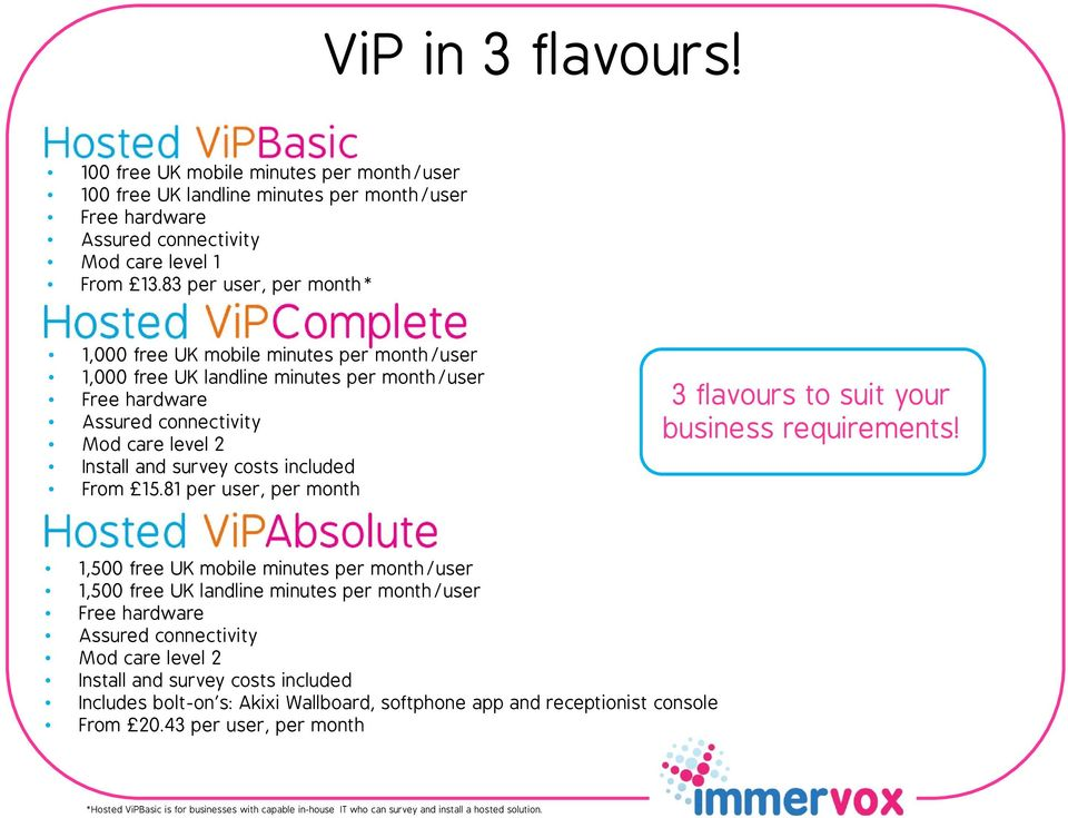 From 15.81 per user, per month 3 flavours to suit your business requirements!