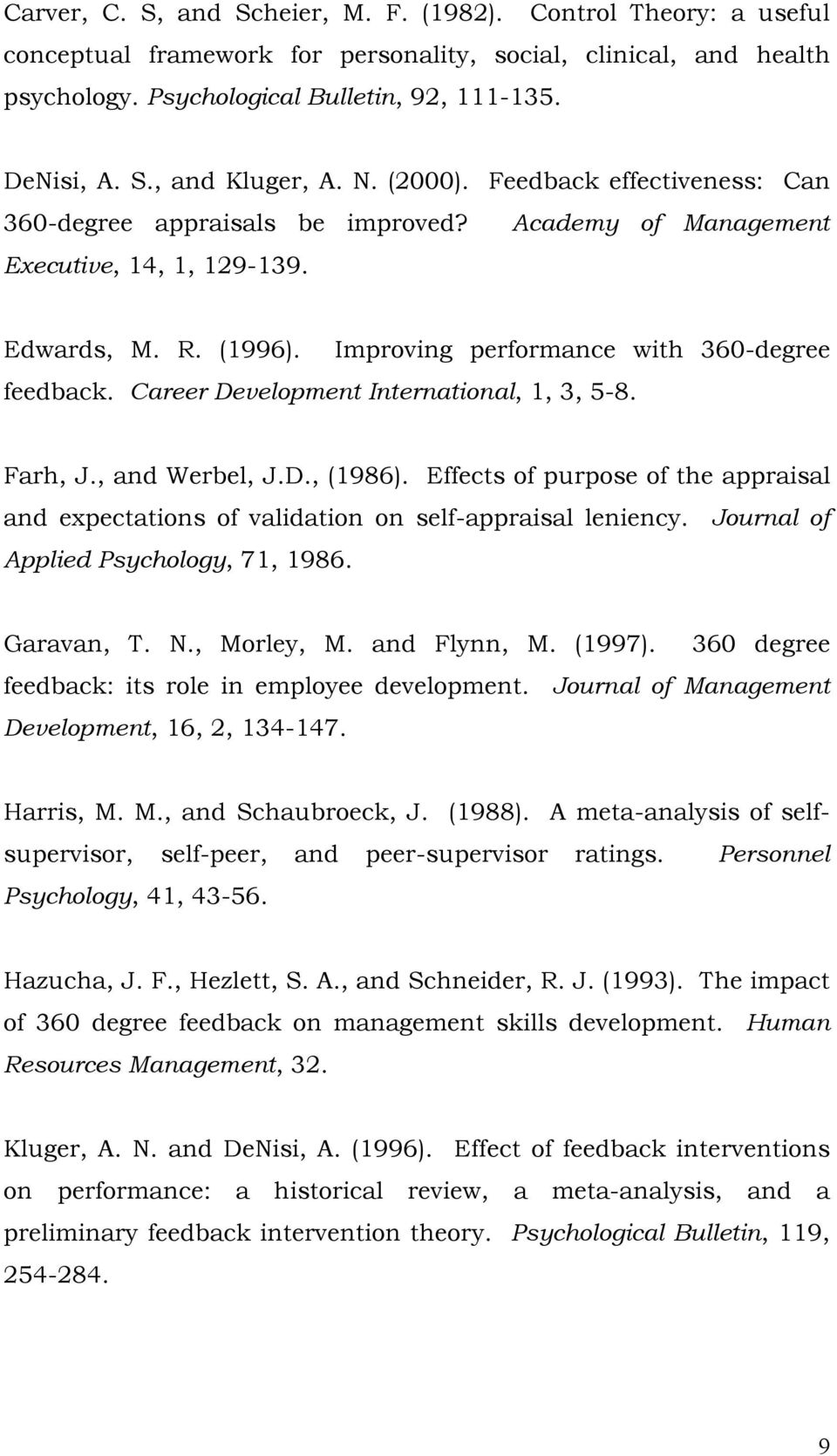 Career Development International, 1, 3, 5-8. Farh, J., and Werbel, J.D., (1986). Effects of purpose of the appraisal and expectations of validation on self-appraisal leniency.