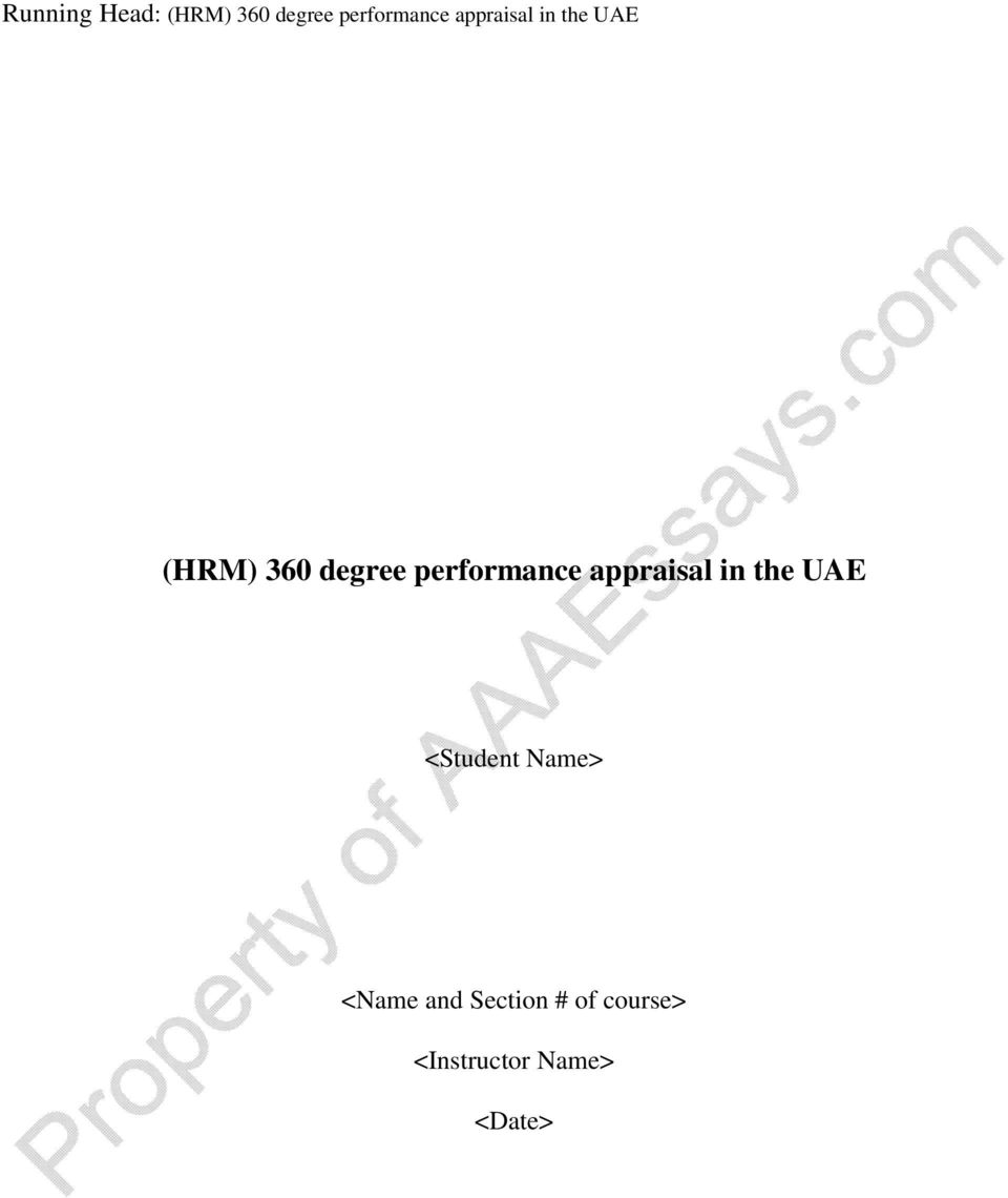 performance appraisal in the UAE <Student