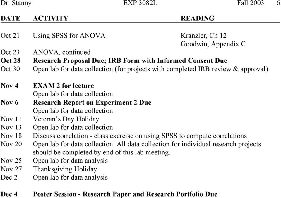 data collection Research Report on Experiment 2 Due Open lab for data collection Veteran s Day Holiday Open lab for data collection Discuss correlation - class exercise on using SPSS to compute