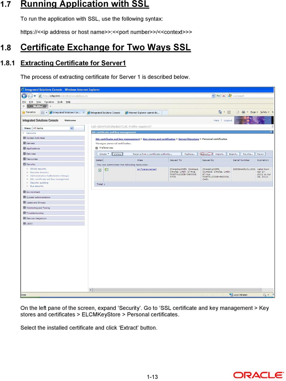 Certificate Exchange for Two Ways SSL 1.8.