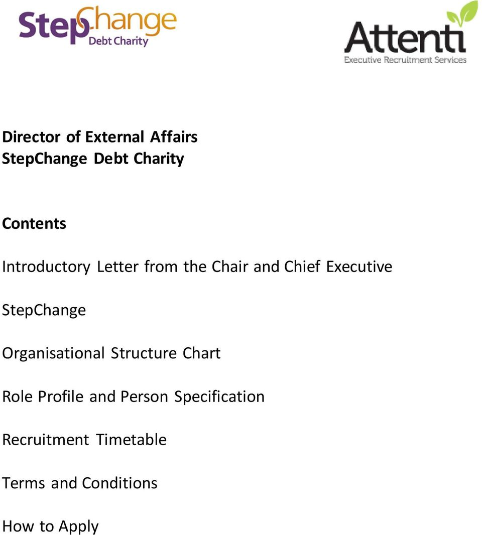 StepChange Organisational Structure Chart Role Profile and