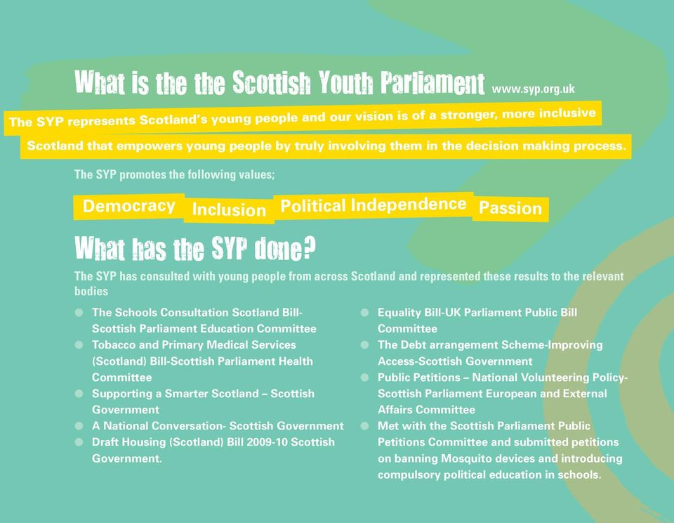 The SYP promotes the following values; Democracy Inclusion Political Independence Passion What has the syp done?